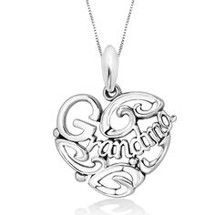 925 Sterling Silver I Love You Grandma Heart Pendant Necklace 18 for Women * Read more reviews of the product by visiting the link on the image.