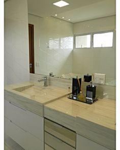 Bancada dupla para banho casal com gavetas em espelho 🔝🔝