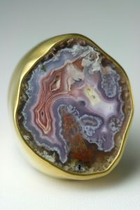 "My own Heather Benjamin ""Wave"" ring with Mexican Geode (www.gildedlilyjewelry.com)"