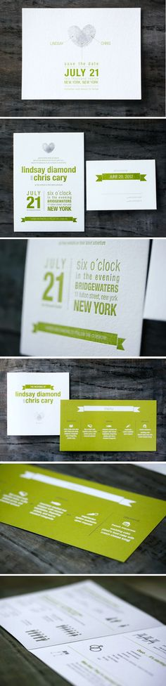 modern green letterpress wedding invitations with thumb print design by @Sorae Lee