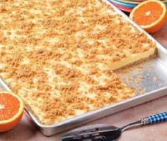 Just like this orange cream freezer dessert that I can store for over 2 months! Check it out.  You'll Need:  4 cups of graham cracker crumbs.  ¾ cup of sugar.  1 cup of melted butter.  3-½ quarts of softened vanilla