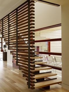 Home Interior, Wood Stairs Design For Terraces Home: Simple Wooden Stairs Contemporary Stairs, Modern Stairs, Modern Room, Contemporary Bathrooms, Modern Living, Modern Art, Wood Stairs, House Stairs, Wood Slat Wall
