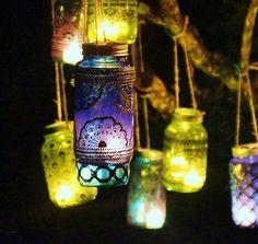 Azure Blue Glass Moroccan Jar Lantern with Dark Pewter Detailing from LITdecor on Etsy. Mason Jar Lanterns, Mason Jar Lamp, Indian Wedding Favors, Painted Mason Jars, Moroccan Decor, Boho, Bohemian Style, Chic Wedding, Wedding Blog