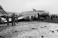 401st Bomb Group B-17G Belly Landed in England, October 29 1944.