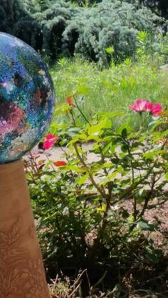 Fairy garden,  gazing ball, roses, so gorgeous