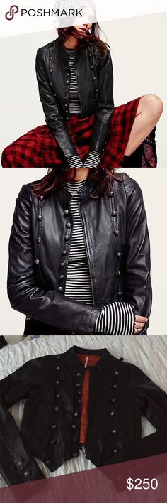 Free People ✨RARE Military Black Leather Jacket ✨ REAL LEATHER. worn 1x. buttery soft, with military style buttons and zip. slightly cropped length, perfect for dresses or high rise jeans. bright scarlet lining to really POP when worn. PRICE IS PRETTY FIRM as I am not certain I want to part with this beauty just yet. 100% flipping gorgeous. LIKE NEW - the interior tag is coming loose but is an easy stitch. otherwise FLAWLESS. Free People Jackets & Coats