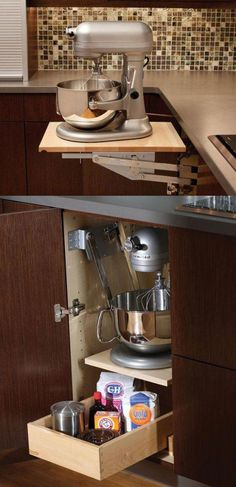 Mixer & Kitchen Appliance Storage Cabinet - A mixer or other heavy kitchen appliance can be lifted with ease to countertop level than conveniently stored in its own cabinet. - Appliance Cabinet by Dura Supreme Cabinetry Kitchen Redo, Kitchen Pantry, New Kitchen, Kitchen Dining, Kitchen Ideas, Kitchen Upgrades, Awesome Kitchen, Kitchen Small, Island Kitchen
