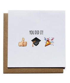 This card is in a language all 22-year-old graduates will understand.