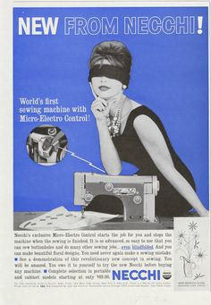 1961 Necchi Sewing Machine Ad Blindfolded Woman Photo Vintage Advertising Art Print Sewing Room Studio Decor by AdVintageCom on Etsy https://www.etsy.com/listing/245685219/1961-necchi-sewing-machine-ad
