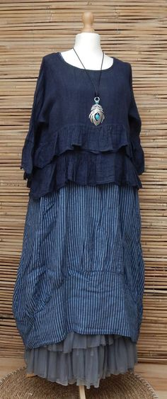 LAGENLOOK LINEN AMAZING LOVELY 2 PCS STRIPED DRESS+OVERTOP*NAVY/BLUE*SIZE XL-XXL