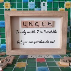 Scrabble Letter Crafts, Scrabble Tile Wall Art, Scrabble Letters, Uncle Presents, Uncle Gifts, Diy Father's Day Gifts, Gifts For Dad, Husband Gifts, Family Gifts