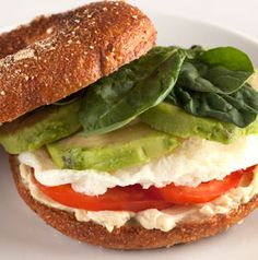 A Power Breakfast Bagel Sandwich has almost everything you need to get you going in the morning. Coffee or orange juice optional!