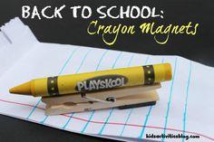 Fun & easy back to school crayon magnets