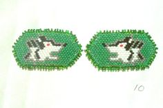 Barrette Girls Set of 2 Authentic Native American Beadwork Wolf Green A cute pair of little girls beaded barrettes with wolves. Native American made.  24.95 w/ free shipping within the USA. #regalia #beadwork #nativeamerican #barrettes