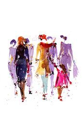 """Peinture illustration aquarelle pour décoration """"foule urbaine"""" / watercolor painting """"urban crowd"""""""