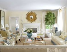 palm beach living room with starburst over fireplace