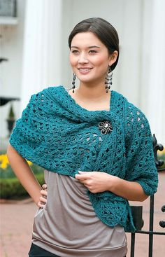 Shawls and Wraps - Dreamy-soft and so very stylish, this collection of five feminine shawls and a fashionable shrug will warm up your wardrobe! With six lovely designs from which to choose, youíll have the just-right wrap ready to go at a momentís notice. Crochet them in colors to complement your favorite outfits, and be sure to make one or two extra for a friend or family member.  6 easy and intermediate projects to crochet using bulky or medium weight yarn: Shell Shawl, Lacy Shawl, Motif…