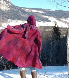 Handmade merino wool and silk felted coat
