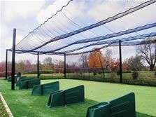 Up close view of the Golf ranger net. We offer properly engineered and installed back-up posts and cages, which take into account wind load, are essential for any cage or back-up system. Keeper Goals will design the post, cabling system and best net for your situation.