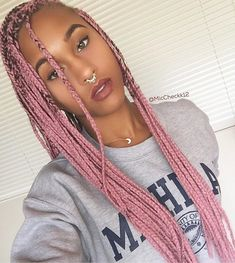 Latest Free pink Box braids Tips Of course, workplaces not that previously, any time a specialized African-American woman do not need Black Girls Hairstyles, Twist Hairstyles, African Hairstyles, Pink Box Braids, Colored Box Braids, Dreads, Afro Braids, Twist Braids, Twists