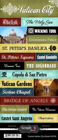 Scrapbook Customs - World Collection - Italy - Cardstock Stickers - Explore - Vatican City