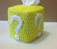 Super Mario Brothers Crochet Question Mark Block Tissue Cover