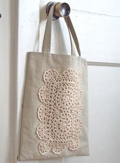Cotton Doily Tote in Natural by reraeshop on Etsy Lace Bag, Potli Bags, Embroidery Bags, Sewing Art, Fabric Bags, Little Bag, Knitted Bags, Learn To Crochet, Doilies