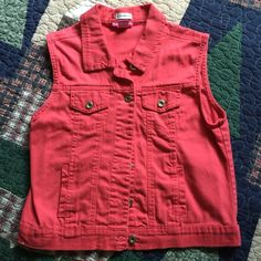 vest Jean and a dark coral color, silver buttons and 4 very small pockets. Stretch--Body Central Jackets & Coats Vests