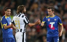 Alessandro Del Piero shakes hands with Andrea Pirlo of Juventus after...