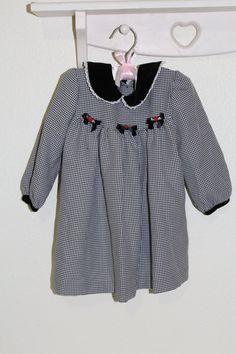 Vintage baby dress. black plaid with velvet by OldFashionBaby