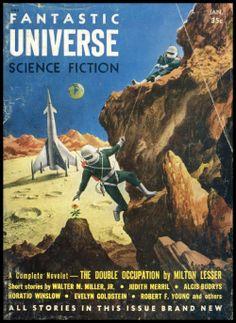 Fantastic Universe 1955. Cover art by Alex Schomburg.