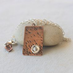 Copper Rectangle Pendant with Silver Rivet Accent Necklace by FracturedForest on Etsy https://www.etsy.com/listing/222194118/copper-rectangle-pendant-with-silver