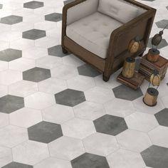Vives Hexagon Rift grafito, crema, cemento and blanco geometric floor tiles
