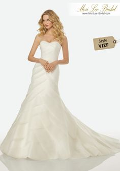 Style VIZF CELINE WEDDING DRESSBias Cut Layers of Organza on a Strapless, Fit and Flare Gown.Colors: IVORY