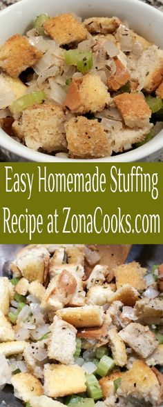 This homemade stuffing is very easy and is a basic bread stuffing which uses a generous amount of chopped celery, onion and seasonings and can be baked alone or inside of a small turkey. This simple recipe takes only 5 minutes of prep and is completely ready in just 45 minutes. #stuffing #dressing #homemade #RecipesForTwo #Thanksgiving #Christmas #SideDish #SmallBatch Homemade Stuffing, Stuffing Recipes, Side Dish Recipes, Side Dishes, Meals For Two, Celery, Onion, Breakfast Recipes, Easy Meals