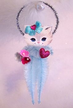 Vintage Valentine Cat Feather Tree Ornament by TreePets on Etsy
