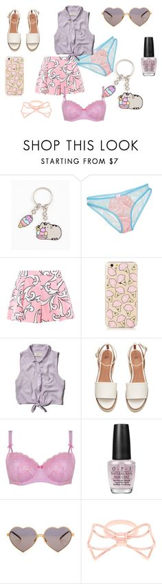 """Pastel Summer"" by nina-black ❤ liked on Polyvore featuring Pusheen, Boutique Moschino, Abercrombie & Fitch, Déesse, OPI, Wildfox and Ted Baker"