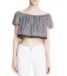 Lucy Paris Off the Shoulder Gingham Top in Gingham