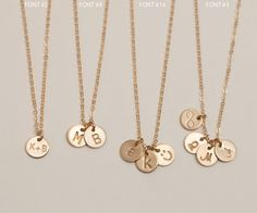 Delicate Tiny Monogram Tag Necklace. Minimal Gold Necklace with Tiny Personalized Tags in 14k Gold Fill. Choose 1 disc, or multi-disc options.