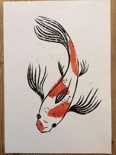 Hand cut lino prints of Japanese butterfly koi