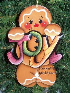 Handpainted  Christmas Gingerbread  Cookie by stephskeepsakes, $7.50