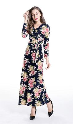 Details: Floral printLong sleeveWith a beltMaterial:PolyesterRegular wash Free Shipping ! We accept Visa ,MasterCard and Paypal . SIZE(CM) US BUST WAIST LENGTH S 2 88 66 140 M 4/6 92 70 141 L 8/10 96 74 142 XL 12/14 100 78 143
