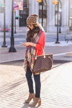 plaid scarf + leopard print beanie