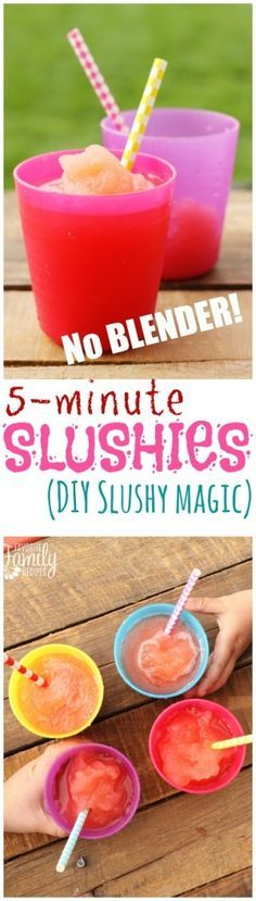 5-minute Slushie: Ice cubes (about 10-12 big pieces) 1 Tbsp. of Kosher salt (table salt is fine, too) 1 cup juice or soda (not diet). Put ice in big bag, juice in smaller bag inside big bag. Shake for about 3-5 minutes or until juice is slushified.