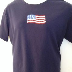 PATRIOTIC TEE Navy Tee with great flag design on chest with seed beads and sequins! Worn with love. No defects. Patriotic Tee Shirts, Navy Tees, Flag Design, Fashion Design, Fashion Tips, Fashion Trends, Seed Beads, Sequins, Best Deals