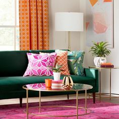 Jewel-toned hues, gilded accents, and prints create a colorful living room we Living Room Furniture, Living Room Decor, Living Rooms, Living Area, Sala Grande, Colourful Living Room, Decoration Design, Trendy Home, Modern Interior Design
