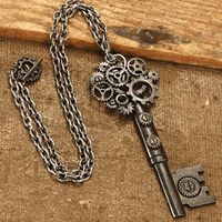 With a top fashioned from overlapping gears, this necklace just might be the key to the Steampunk world! #steampunk #keynecklace http://www.pearsonsrenaissanceshoppe.com/key-necklace.html