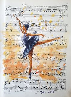 Watercolor / acrylic painting on original music sheets. Ballet Painting, Ballet Art, Ballet Dance, Dancing Drawings, Music Drawings, Ballet Pictures, Dance Pictures, Ballet Wallpaper, Ballerina Kunst