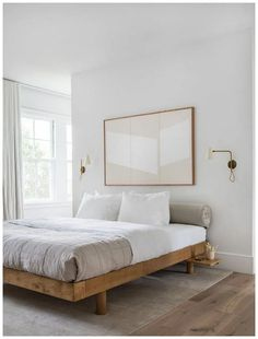 Tonal tan bedroom with wooden platform bed and neutral bedding. Photo by Tessa N… Tonal tan bedroom with wooden platform bed and neutral bedding. Photo by Tessa Neustadt – Neustadt Studio, design by thea home House Interior, Simple Bedroom Decor, Furniture, Minimalist Bedroom, Home, Simple Bedroom, Wooden Platform Bed, Modern Bedroom, Home Decor