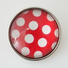 1 PC - 18MM Red White Dots Glass Dome Silver Charm for Snap Jewelry KB2501-n CC3556